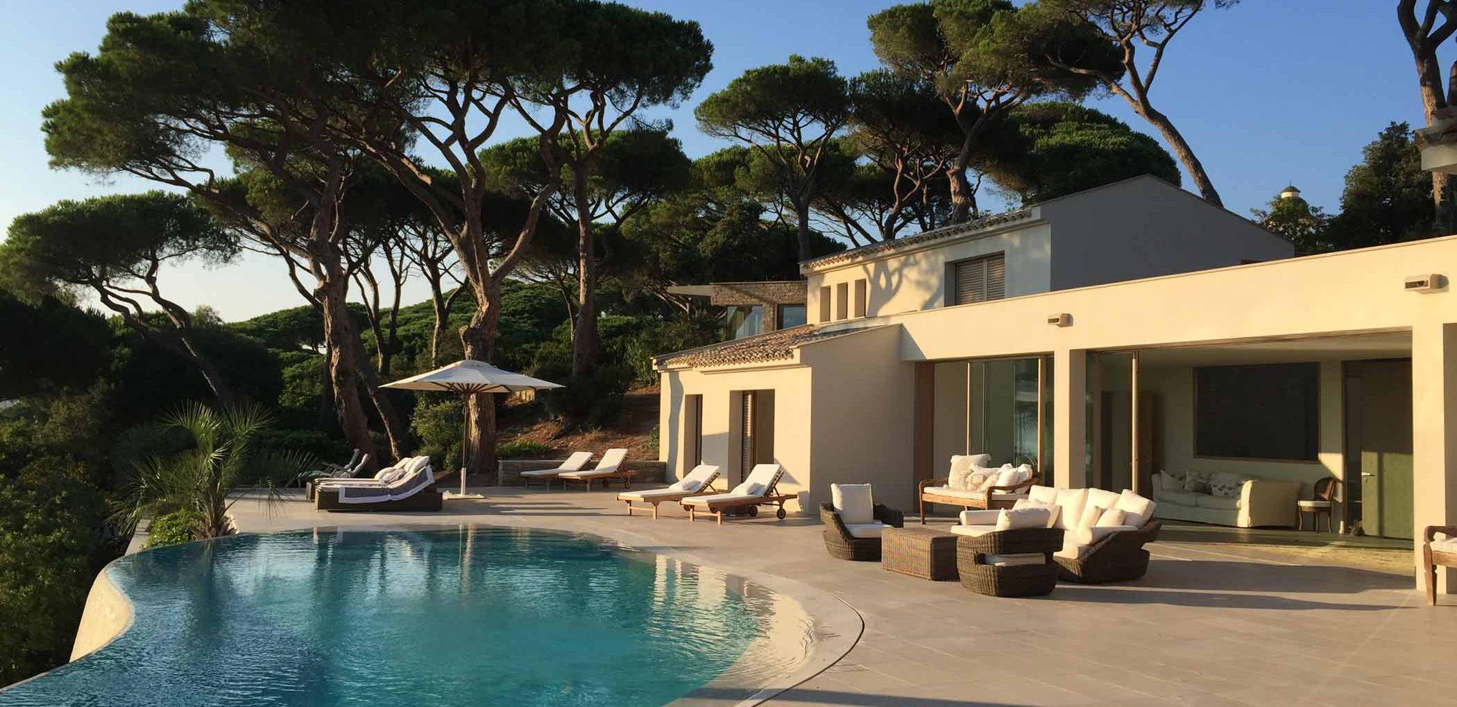 View of Villa Saint Tropez with wooden lift and slide doors Skyline Sliding