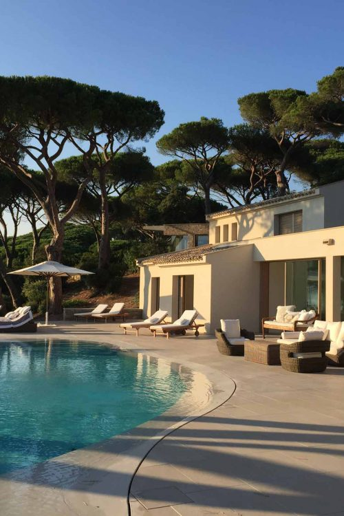 View of Villa Saint Tropez with wooden lift and slide doors Skyline Sliding
