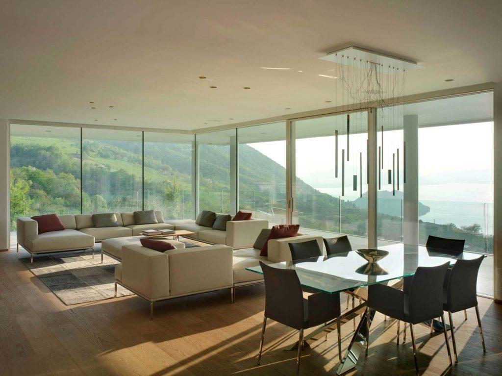 Villa Brescia, windows Skyline Minimal Frames in the living room