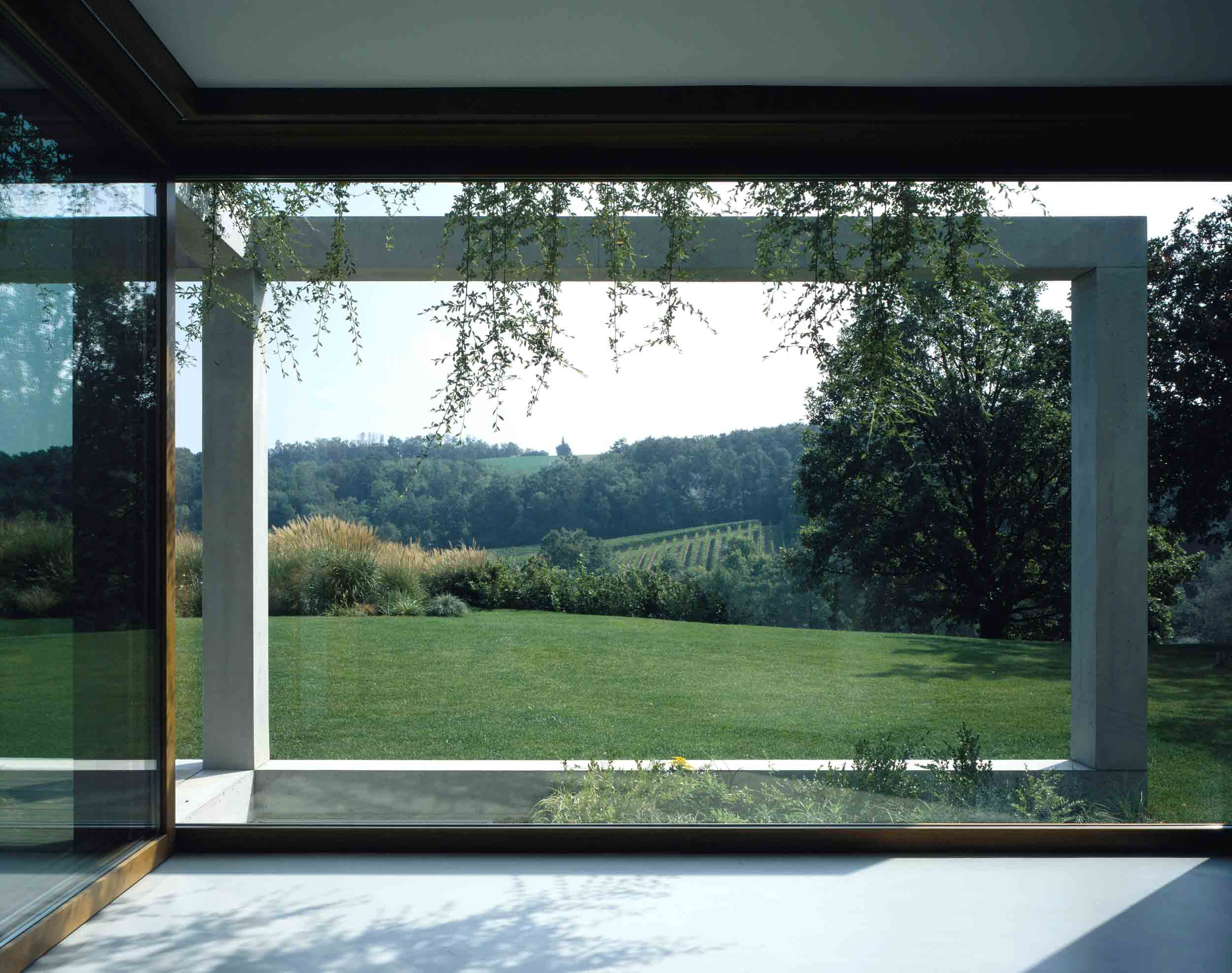 Front view of the Euro 68 fixed glass window in oak with natural finish