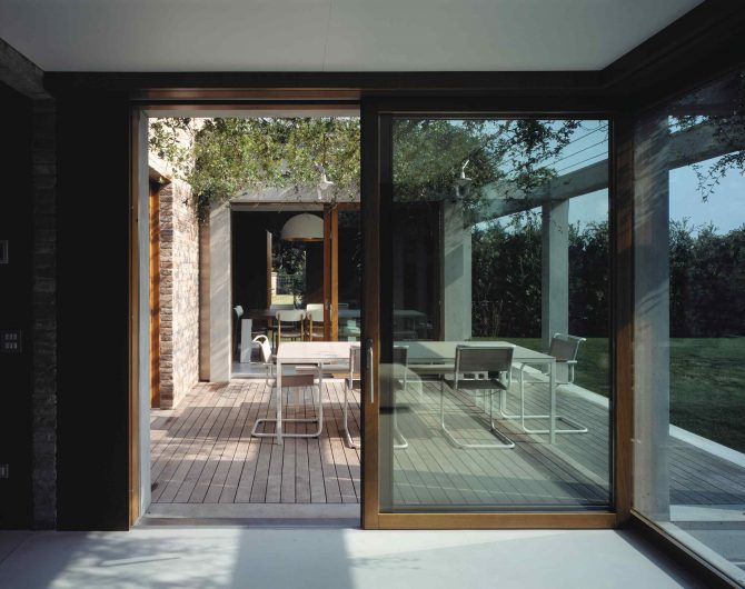 View of the outdoor patio of Villa Parma with lift and slide Euro 68