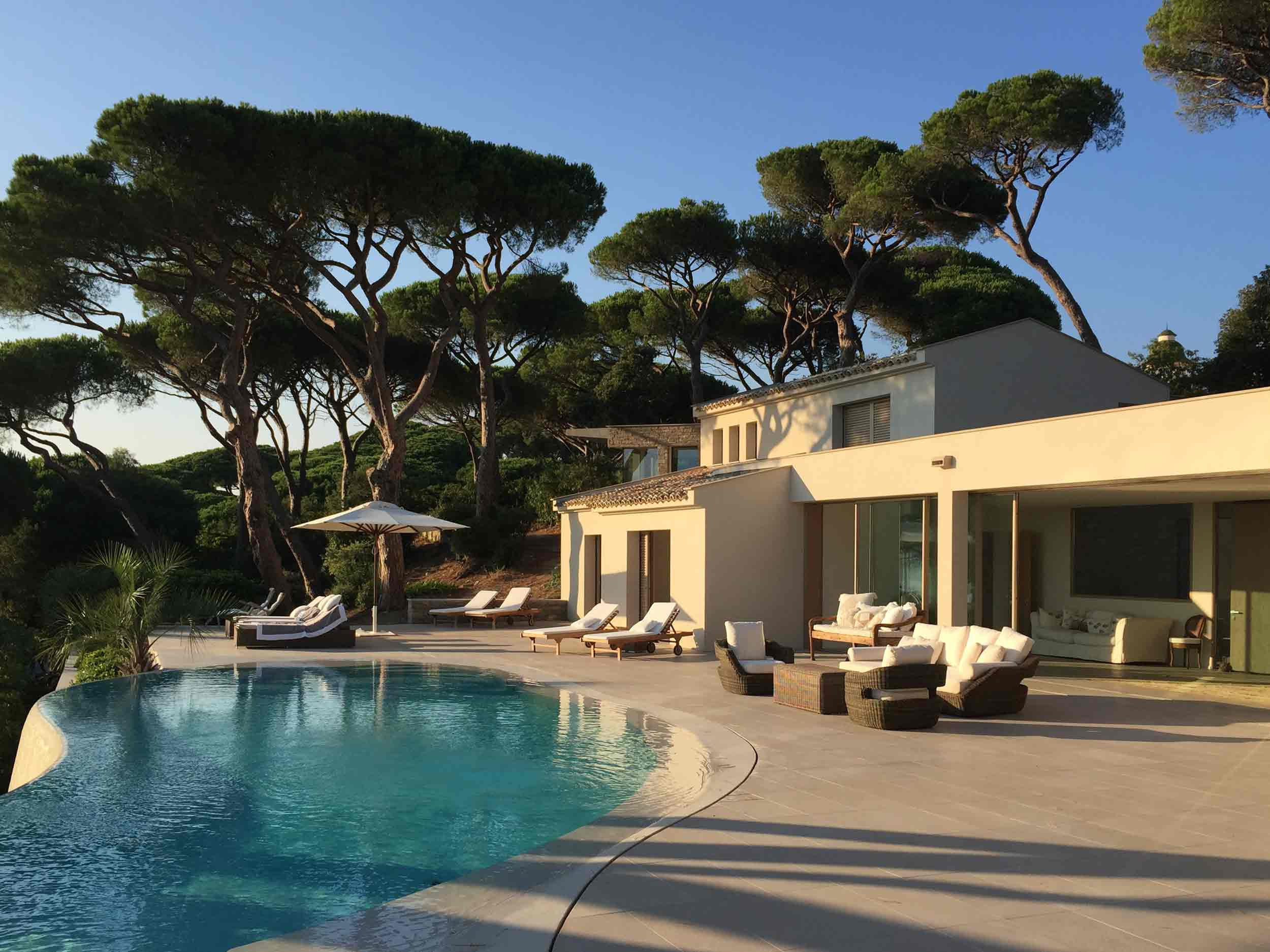 View of the Saint Tropez villa with Skyline lift and slide and embedded bottom track