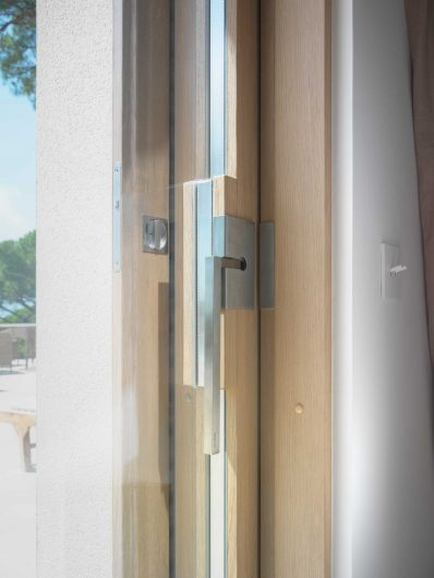 Detail view of a lift and slide sash with custom handle