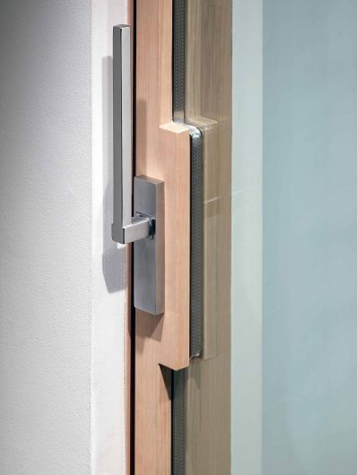 Handle for lift and slide with lock
