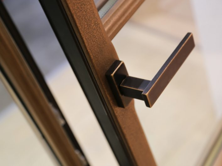 Detail of an open handle on Skyline Classic window