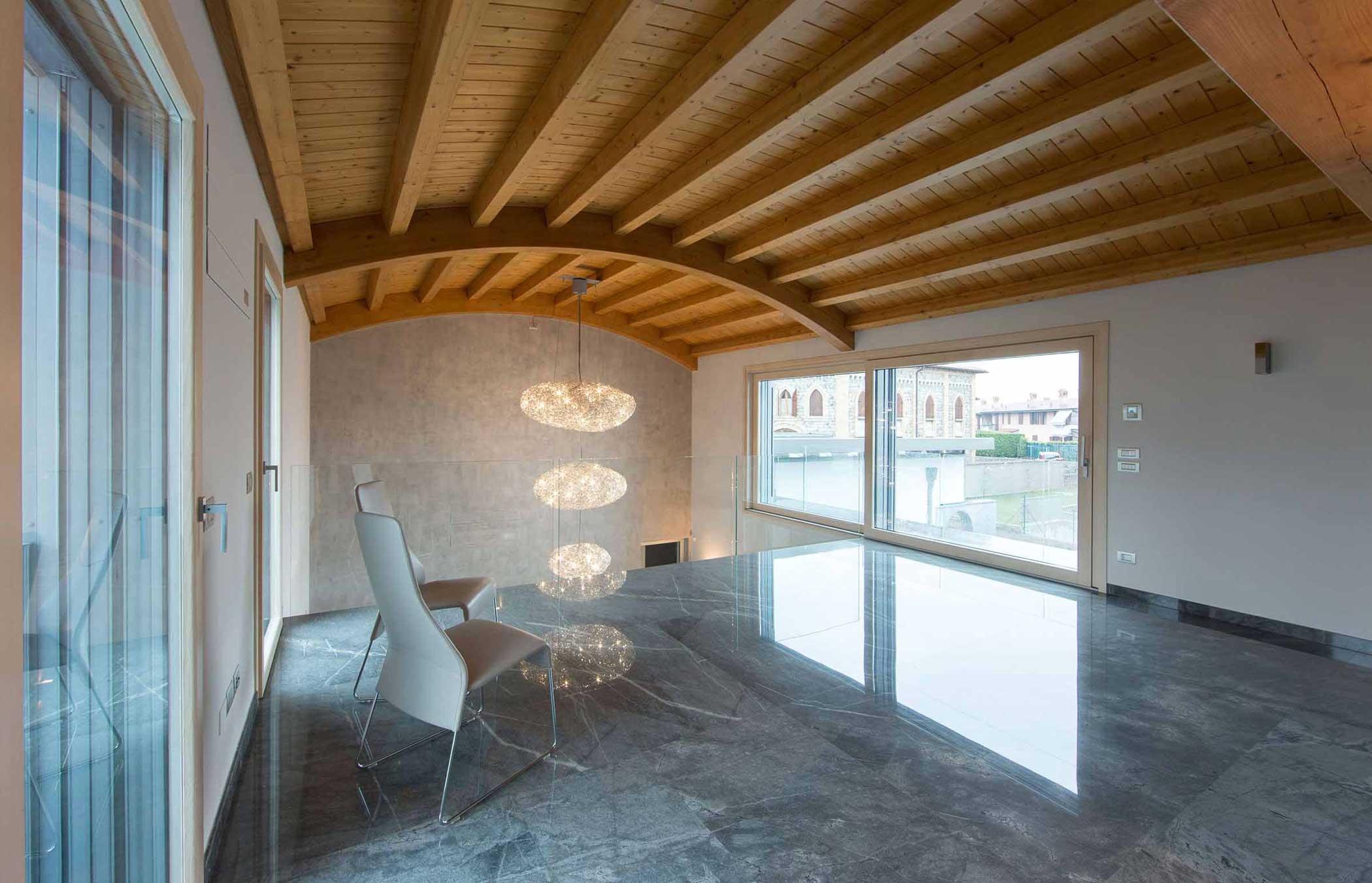Interior of Villa Milano with Passive 120 lift and slide doors