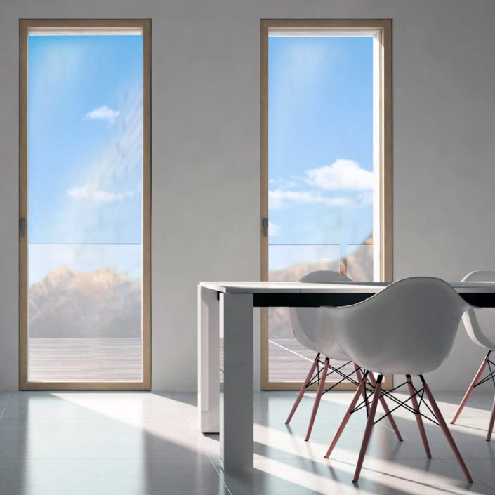 View of two Skyline patio doors with wooden frame