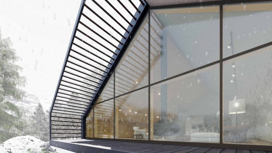 Overall view of a glazed facade with thin profiles covered in aluminium