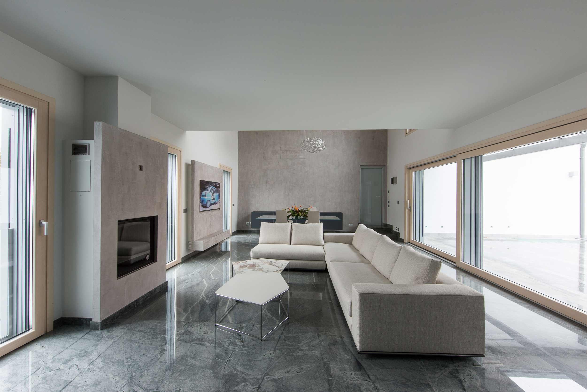 View of the living area with natural finish windows