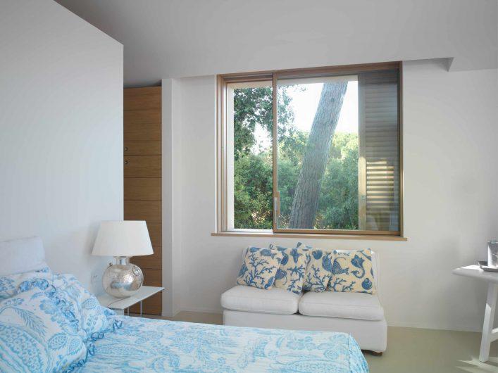 Lift and slide window installed in the bedroom of Villa Saint Tropez