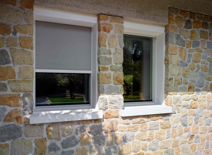 External view of the windows with blackout curtains