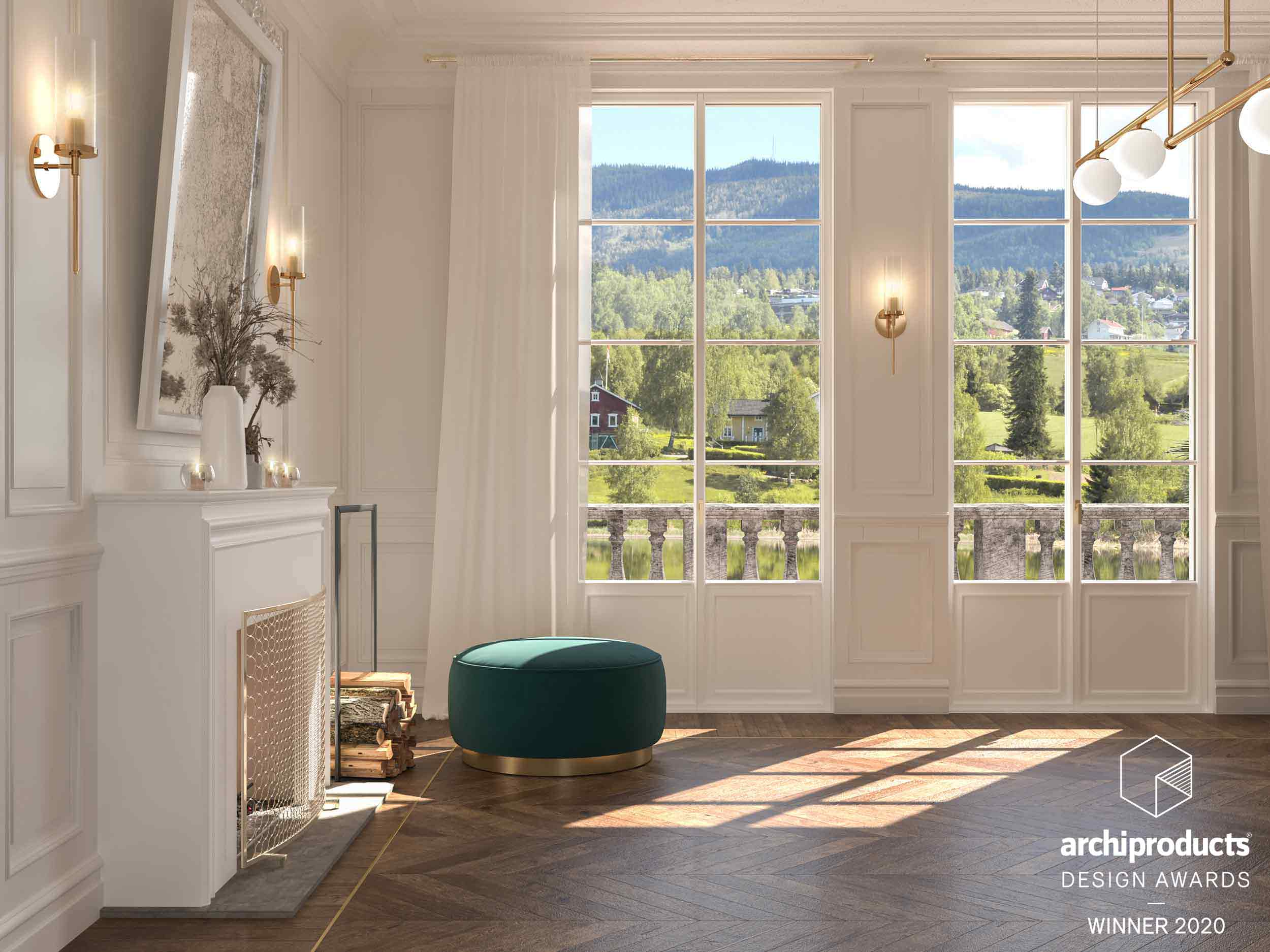 View of an interior with Skyline Classic double-leaf balcony doors with inglesine