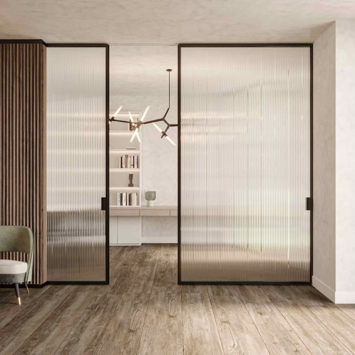 Sliding door Lady with wooden frame and ribbed transparent glass