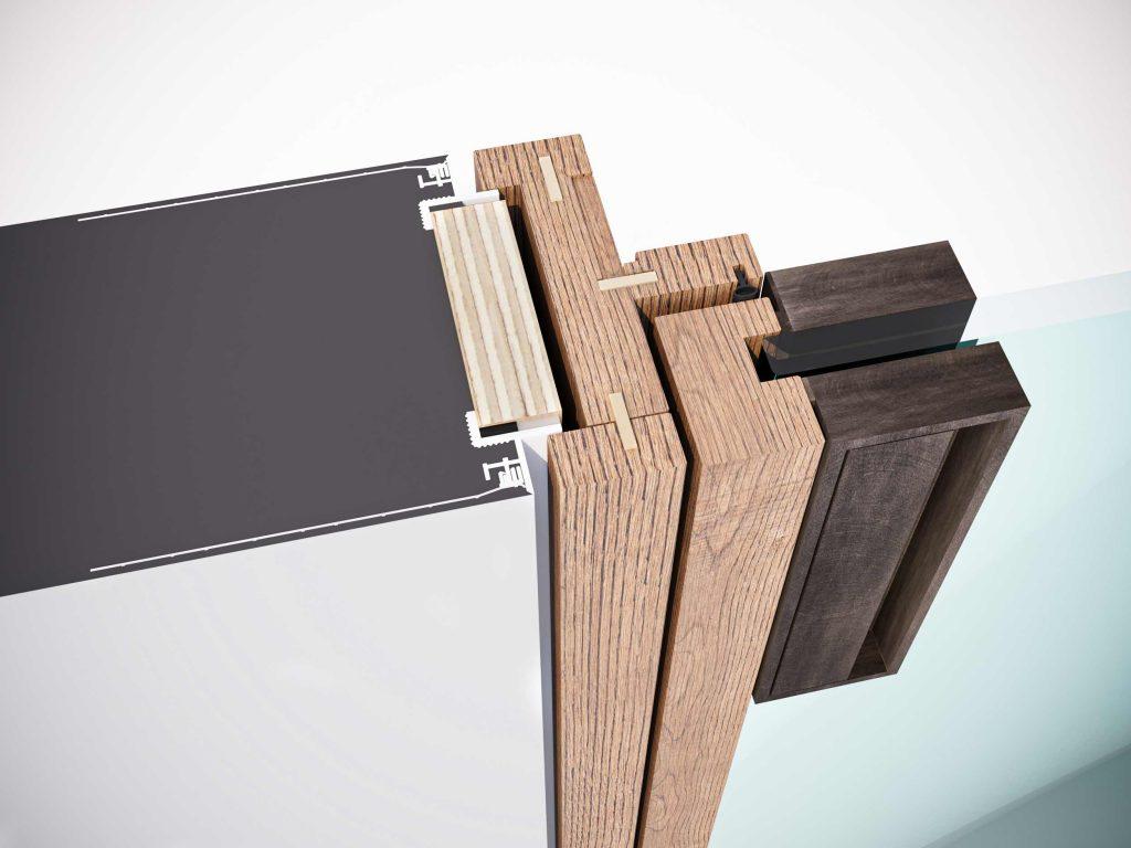 Nodo tecnico del telaio fisso classico rasomuro della porta a battente Lady