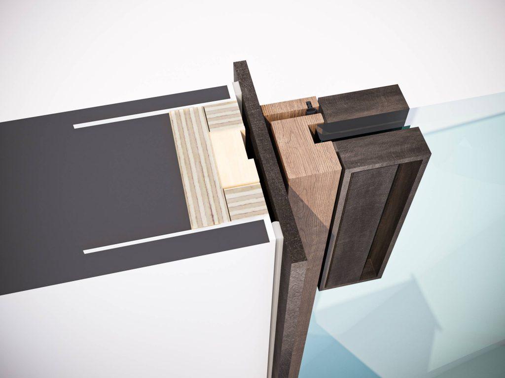 Nodo tecnico del telaio minimal in alluminio della porta a battente Lady