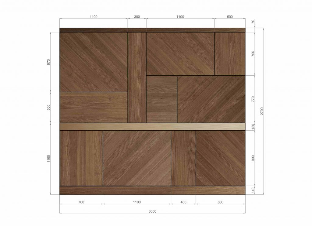 Layout with measurements of the Abaco boiserie