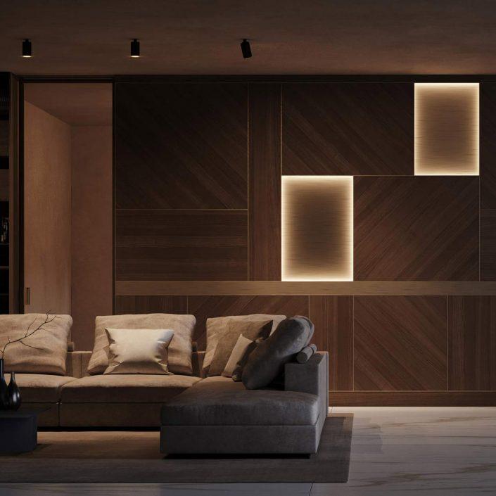 Abaco boiserie with illuminated panels