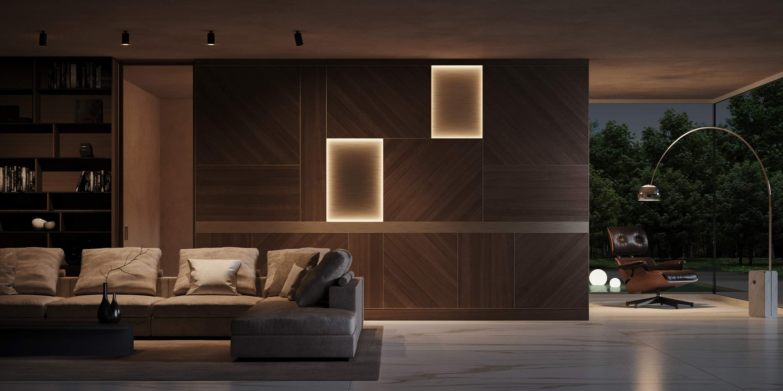 Wooden boiserie equipped with illuminated metal panels
