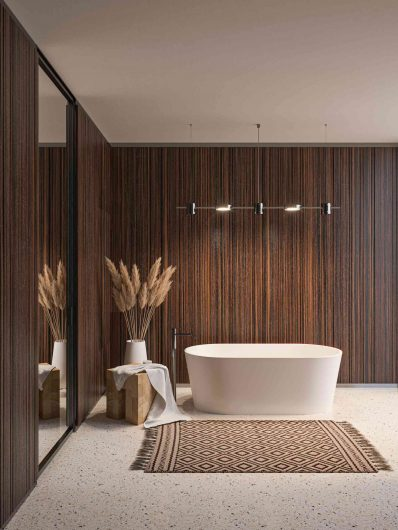 View of a bathroom with smooth rosewood paneling