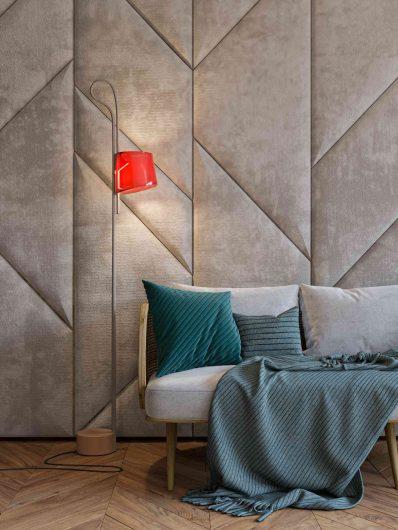 Velvet boiserie with padded rhomboid panels