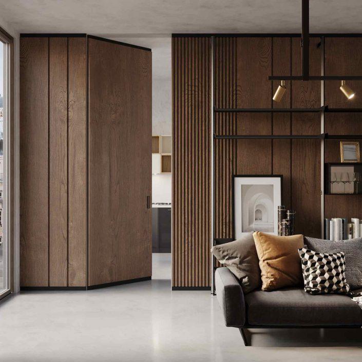 Wooden door Lady invisible effect open
