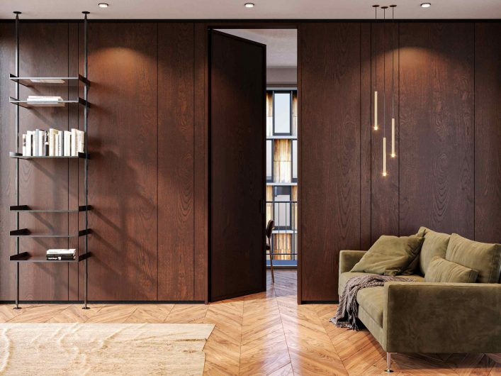 Internal hinged door Lady with blind panel in dark stained oak